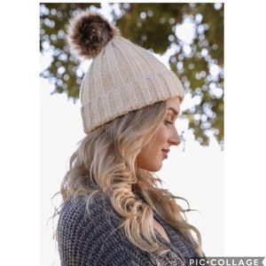 Faux Fur Pom Pom Thermal Beanie